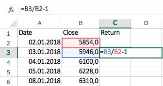 Формула волатильности в Excel