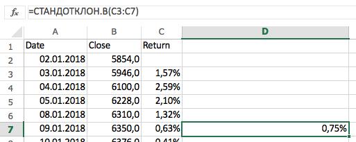 Считаем волатильность в Excel