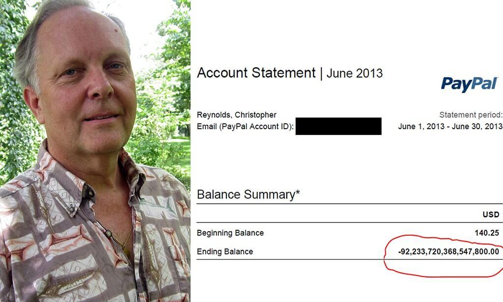В 2013 году PayPal случайно приписал 92 квадриллиона долларов человеку из Пенсильвании.