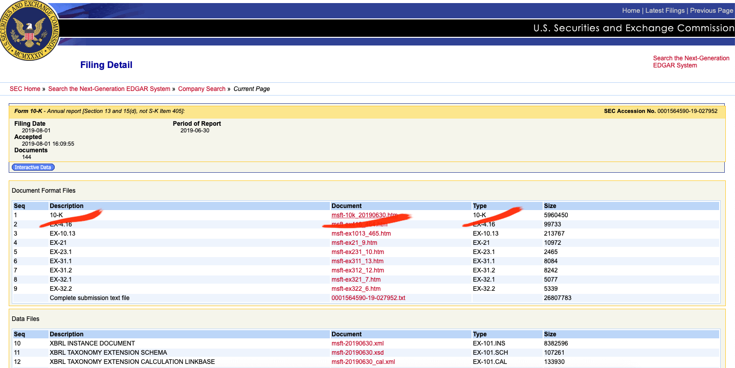 документы годового отчёта Microsoft